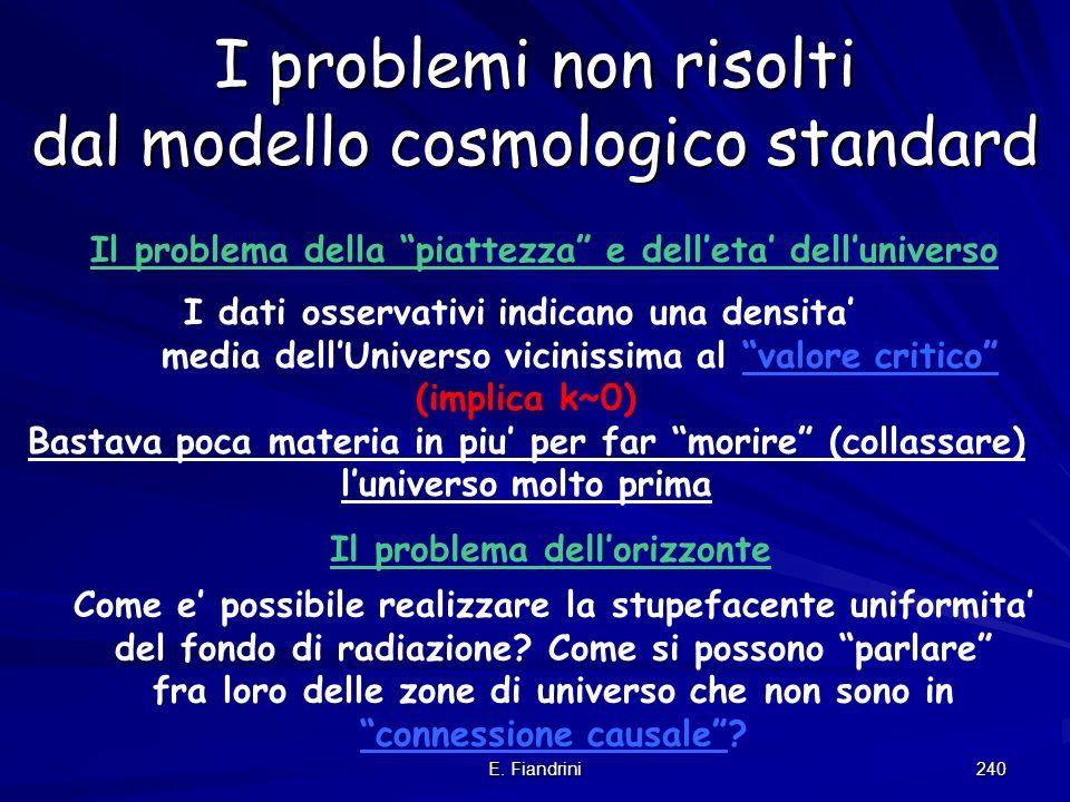 I problemi non risolti dal modello cosmologico standard