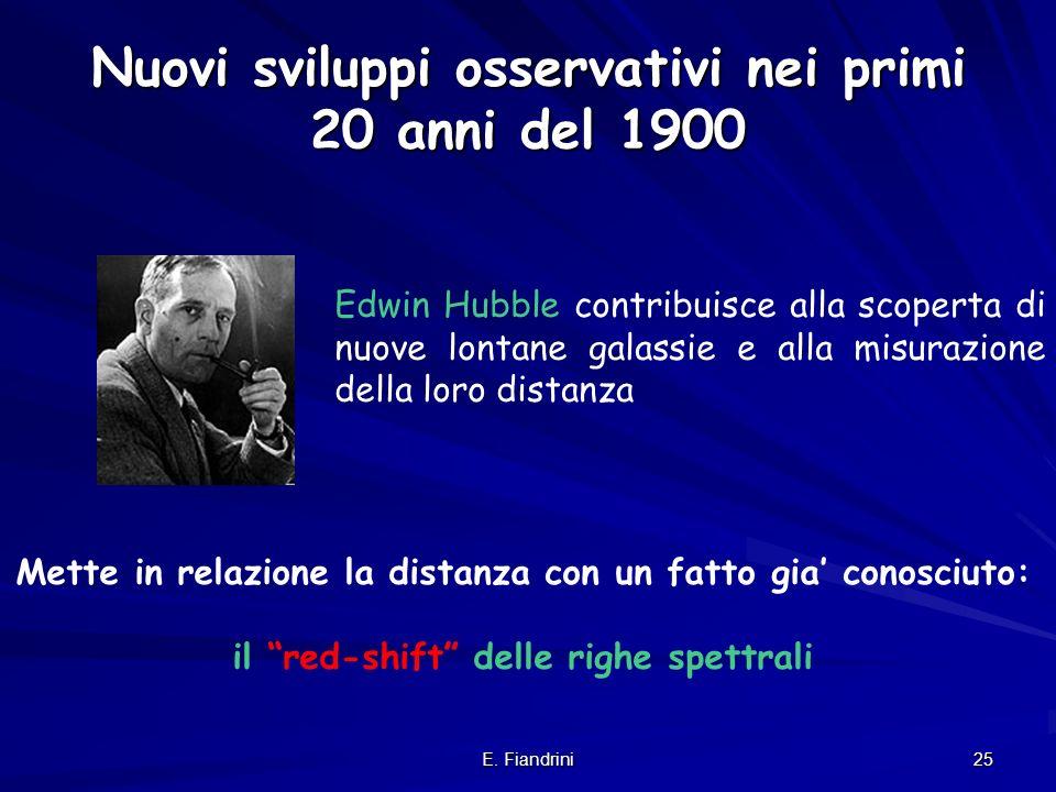 Nuovi sviluppi osservativi nei primi 20 anni del 1900