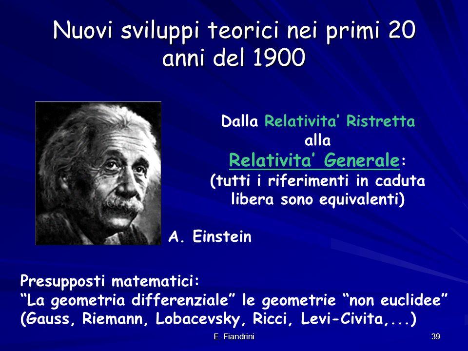 Nuovi sviluppi teorici nei primi 20 anni del 1900