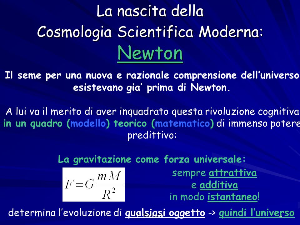 La nascita della Cosmologia Scientifica Moderna: Newton
