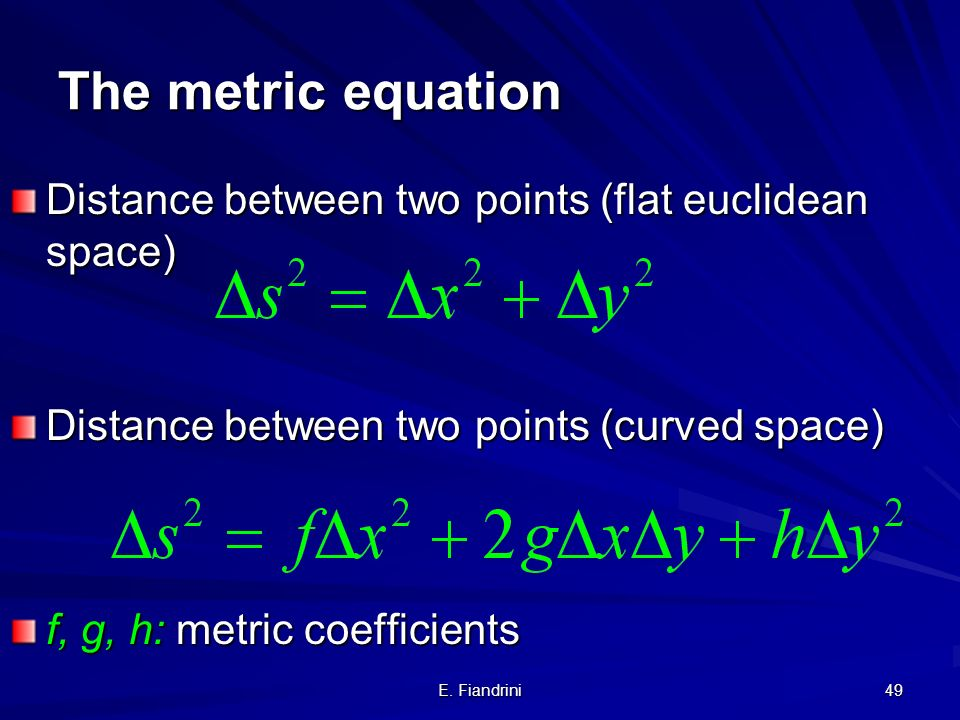 The metric equation Distance between two points (flat euclidean space)