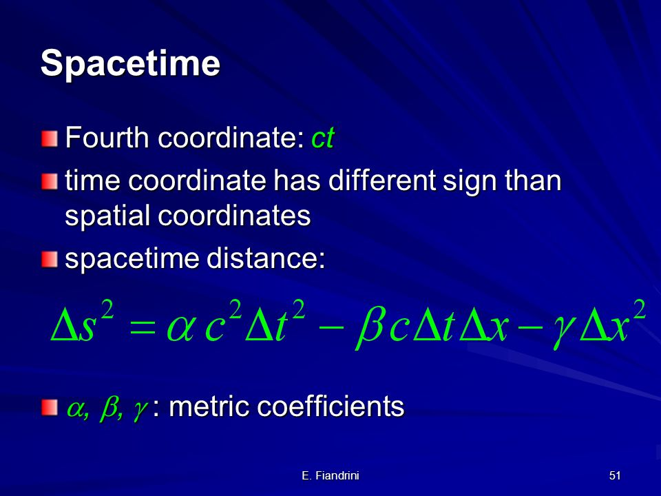 Spacetime Fourth coordinate: ct