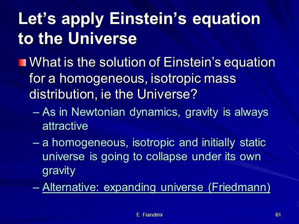 Let's apply Einstein's equation to the Universe