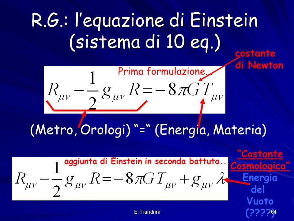 R.G.: l'equazione di Einstein (sistema di 10 eq.)