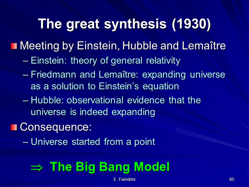 The great synthesis (1930) Meeting by Einstein, Hubble and Lemaître