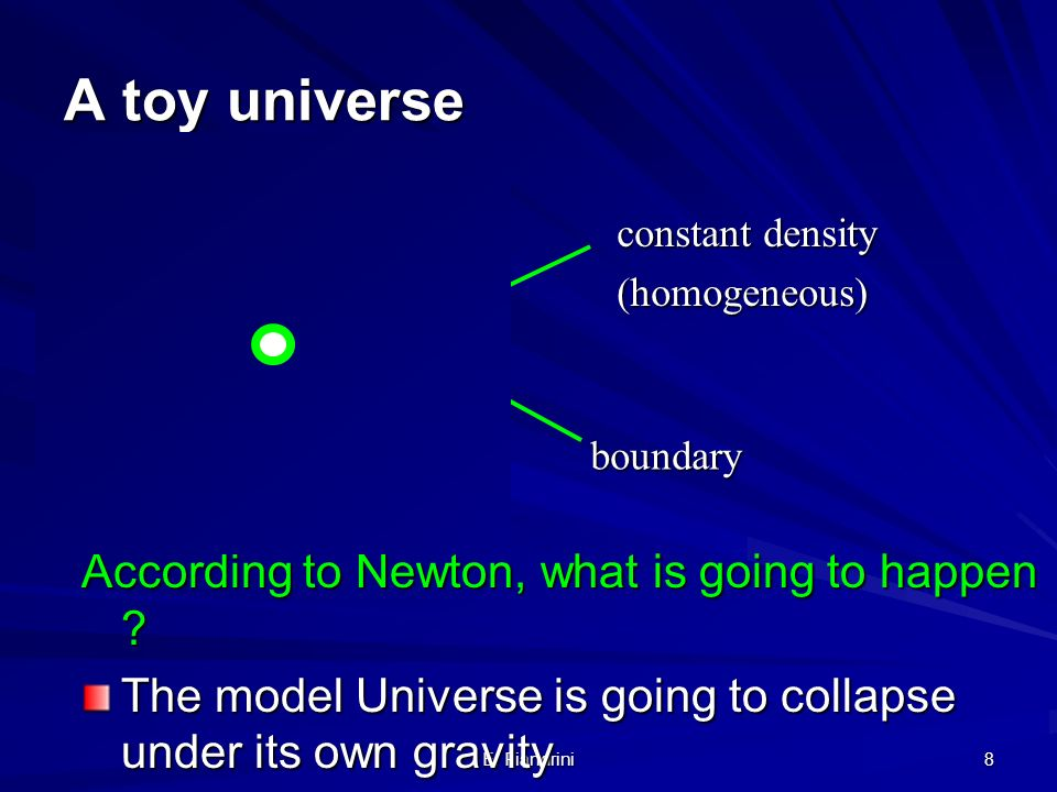 A toy universe According to Newton, what is going to happen