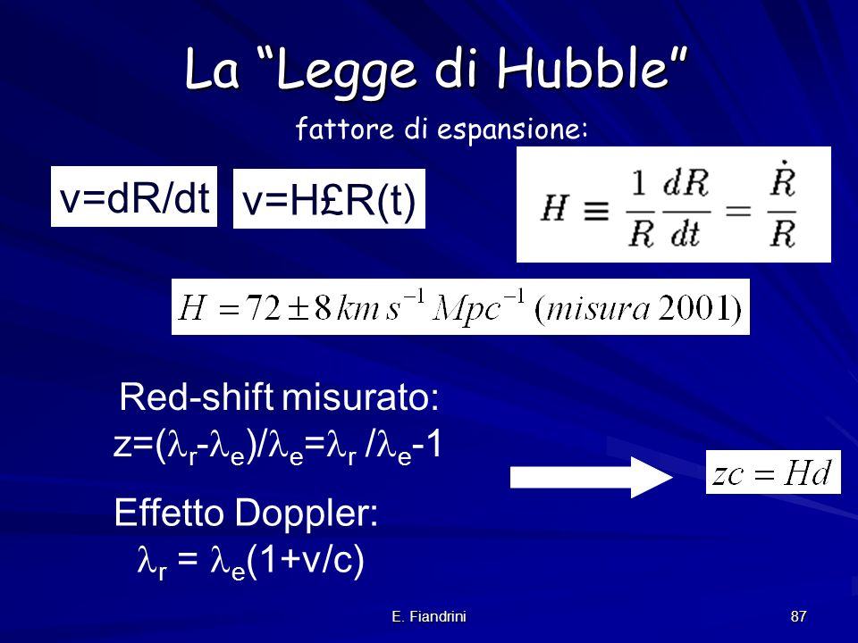 La Legge di Hubble v=dR/dt v=H£R(t) Red-shift misurato: