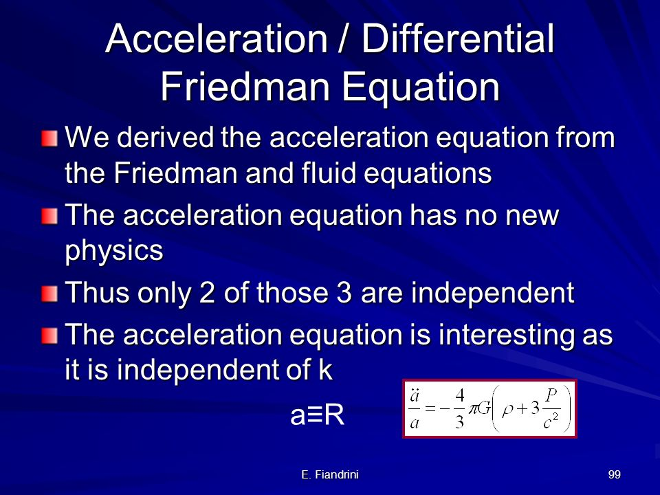 Acceleration / Differential Friedman Equation