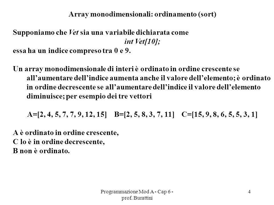 Array monodimensionali: ordinamento (sort)