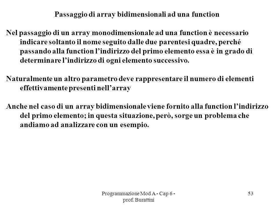 Passaggio di array bidimensionali ad una function