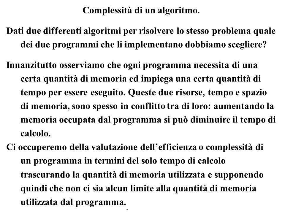 Complessità di un algoritmo.