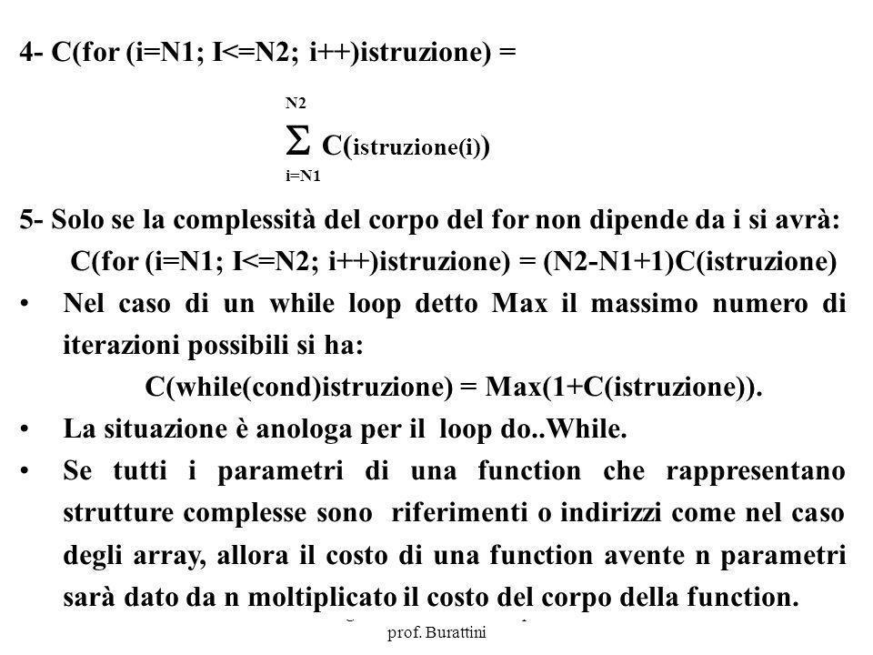  C(istruzione(i)) 4- C(for (i=N1; I<=N2; i++)istruzione) =