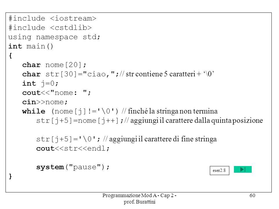 Programmazione Mod A - Cap 2 - prof. Burattini