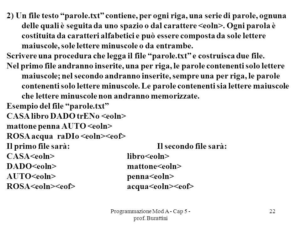 Programmazione Mod A - Cap 5 - prof. Burattini