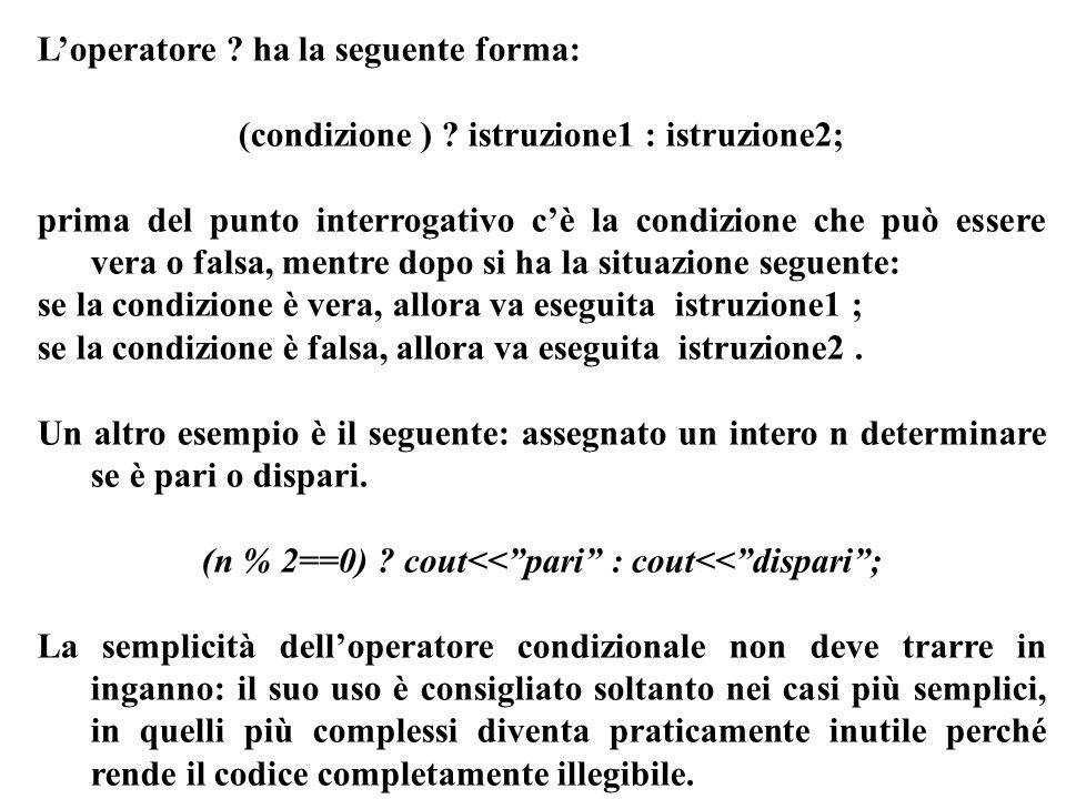 L'operatore ha la seguente forma: