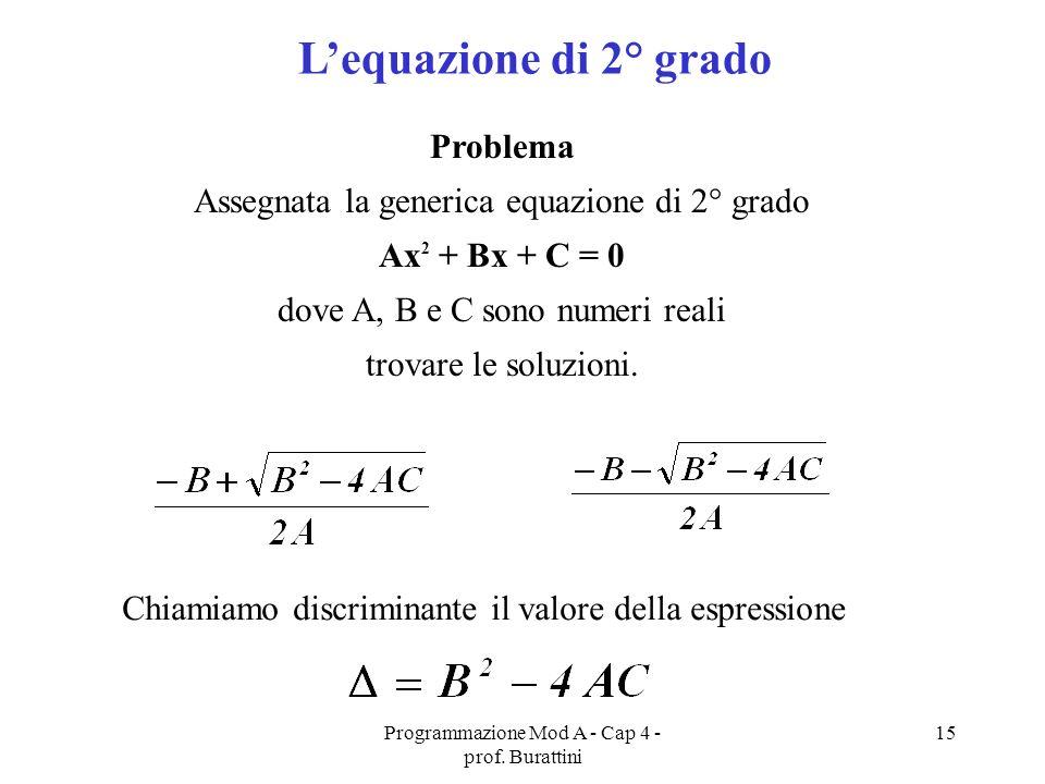 L'equazione di 2° grado Problema
