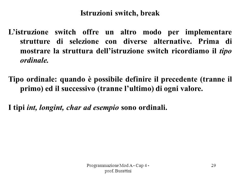 Istruzioni switch, break
