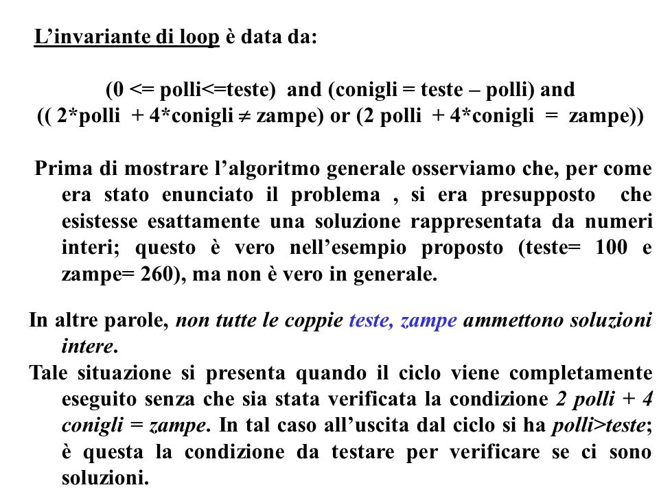 L'invariante di loop è data da: