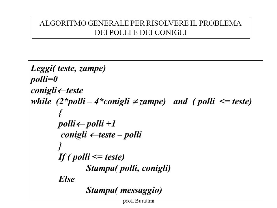 while (2*polli – 4*conigli  zampe) and ( polli <= teste) {