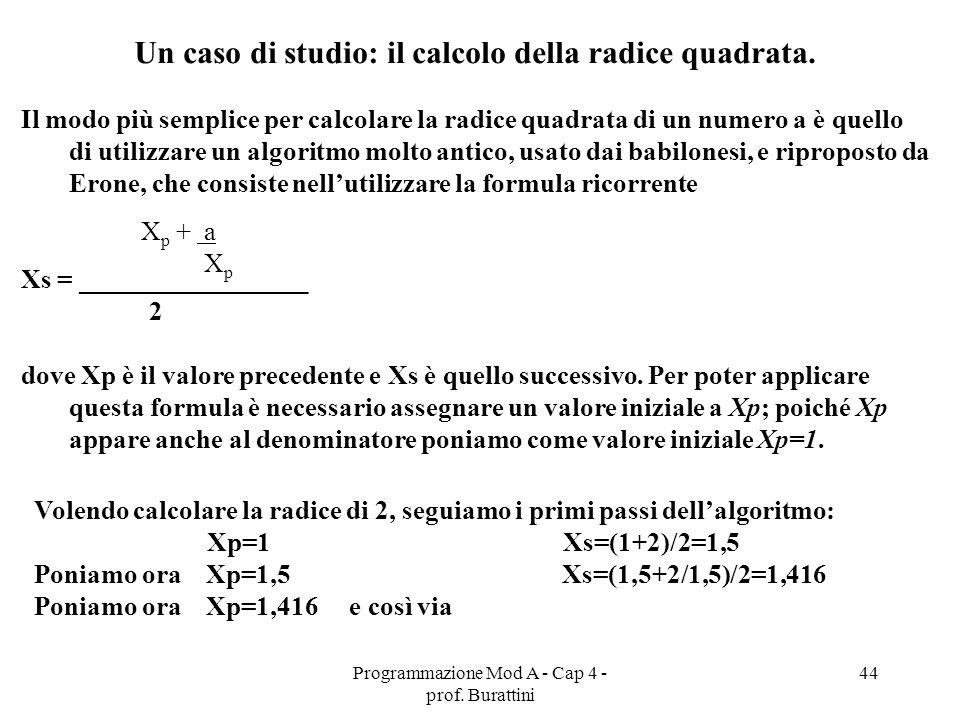 Un caso di studio: il calcolo della radice quadrata.