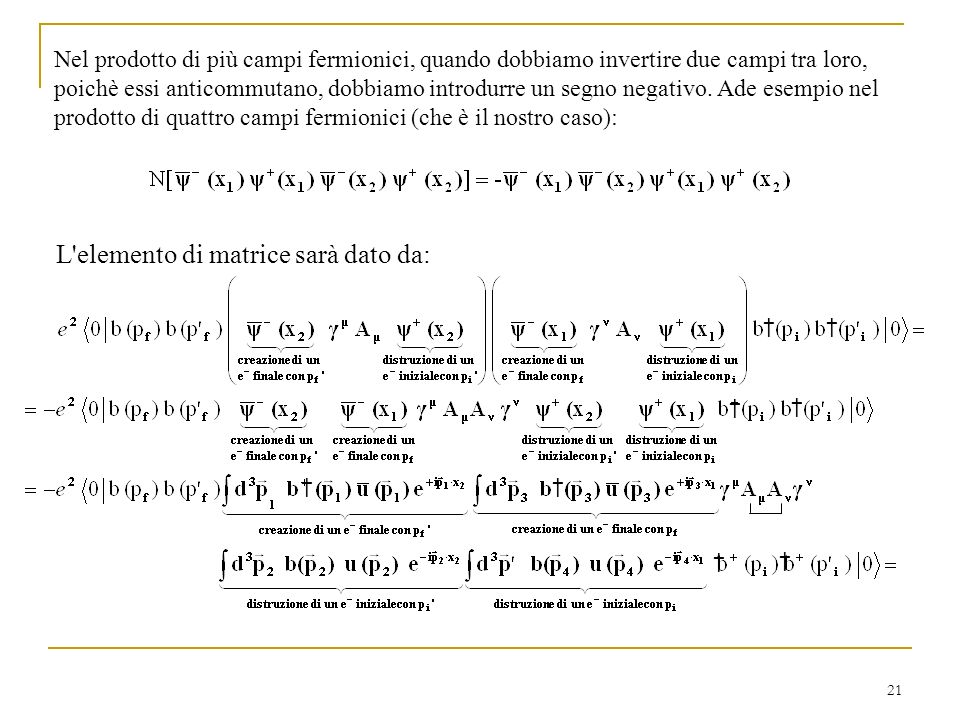 L elemento di matrice sarà dato da: