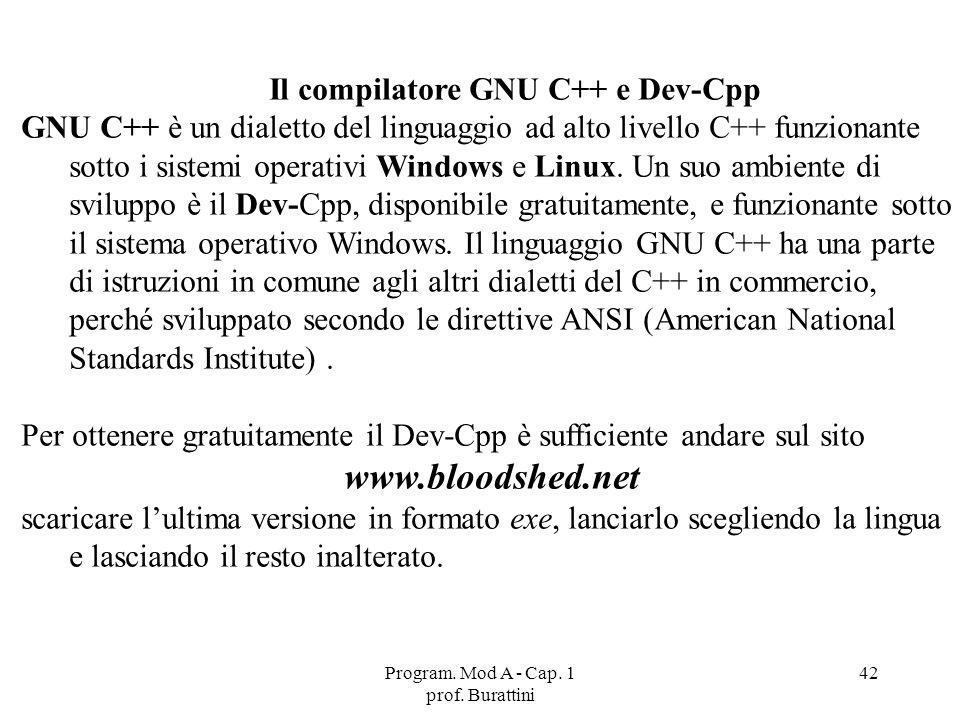 Il compilatore GNU C++ e Dev-Cpp