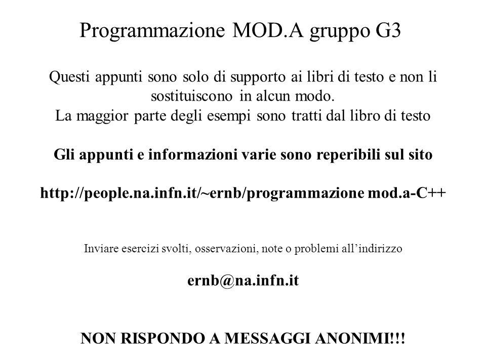 Programmazione MOD.A gruppo G3