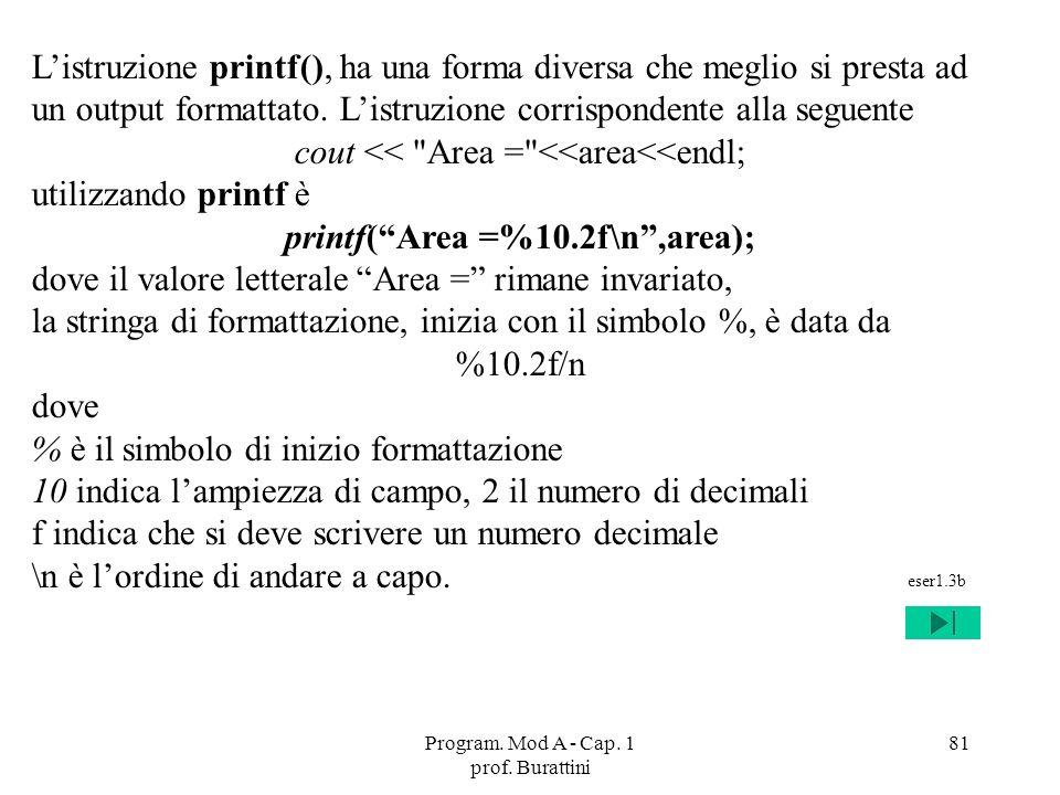 printf( Area =%10.2f\n ,area);