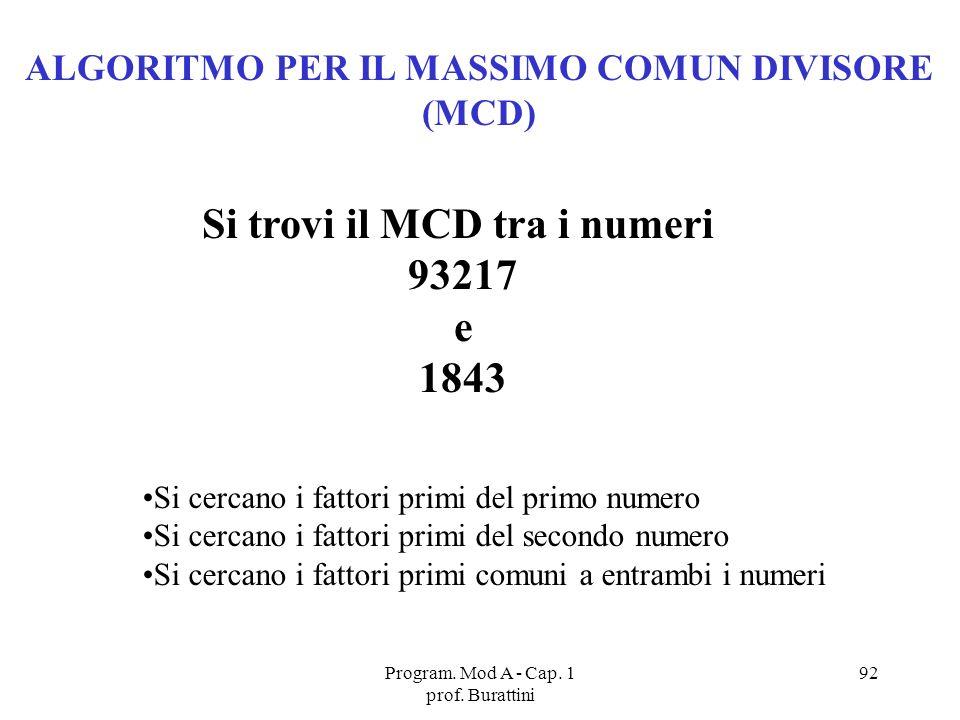 ALGORITMO PER IL MASSIMO COMUN DIVISORE Si trovi il MCD tra i numeri