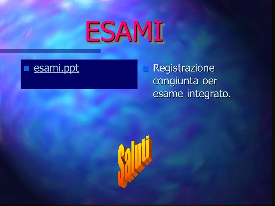 ESAMI esami.ppt Registrazione congiunta oer esame integrato. Saluti