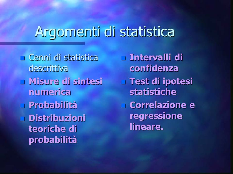 Argomenti di statistica