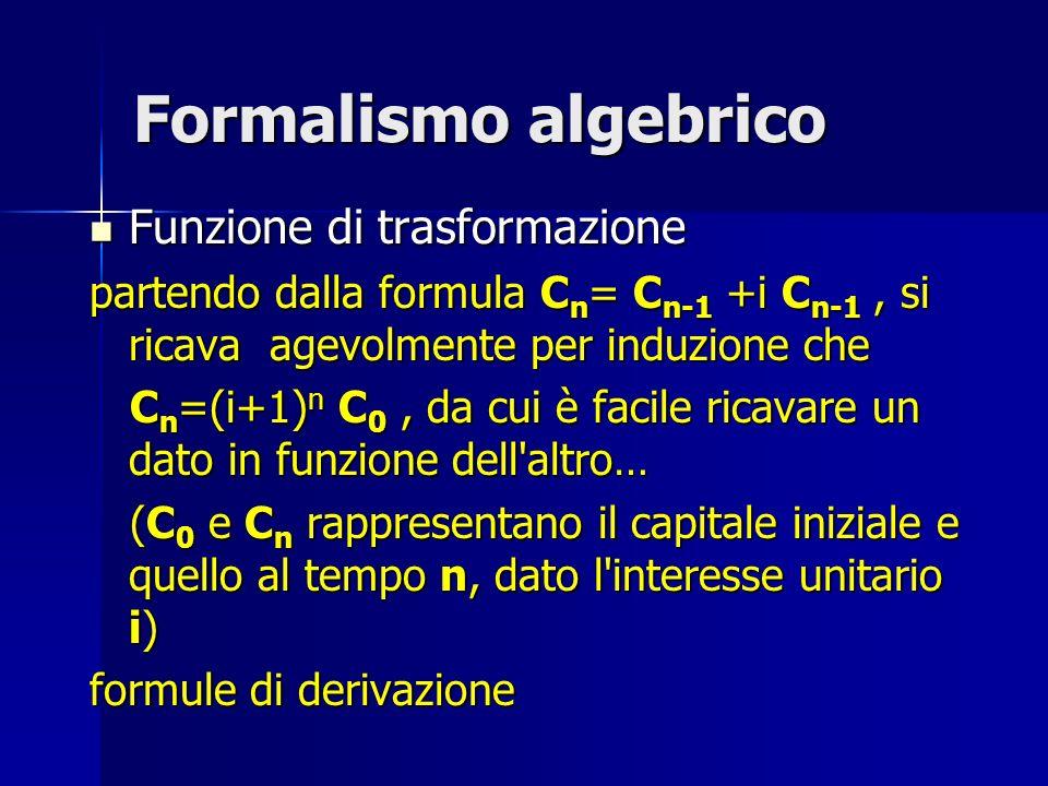 Formalismo algebrico Funzione di trasformazione