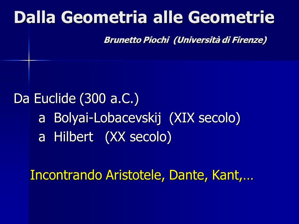 Dalla Geometria alle Geometrie Brunetto Piochi (Università di Firenze)