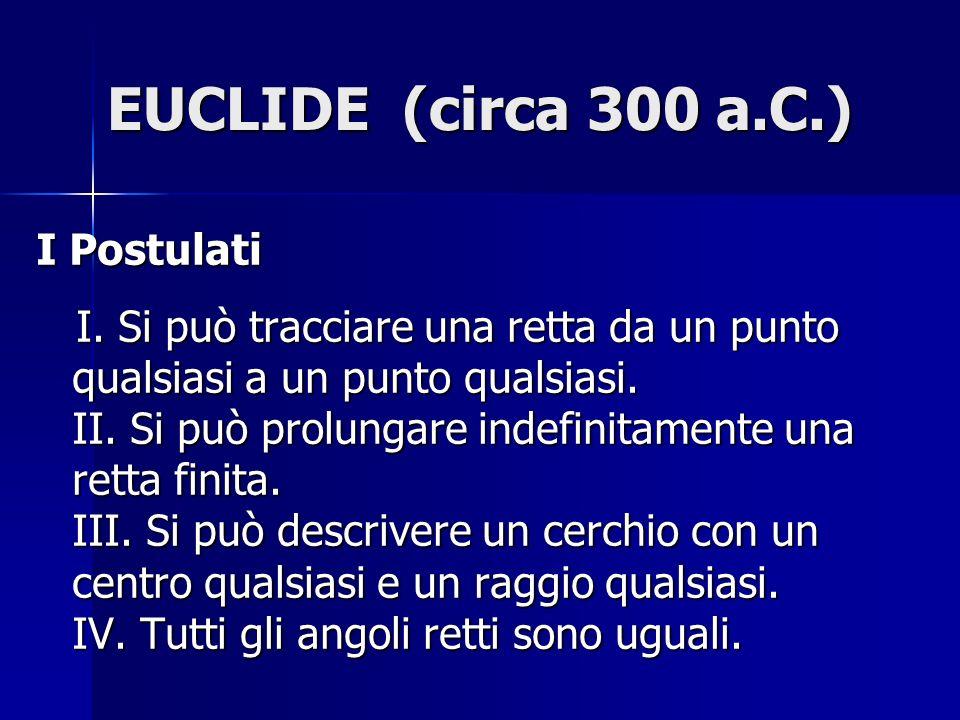 EUCLIDE (circa 300 a.C.) I Postulati