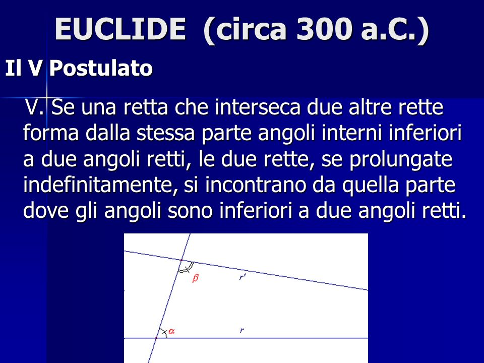 EUCLIDE (circa 300 a.C.) Il V Postulato