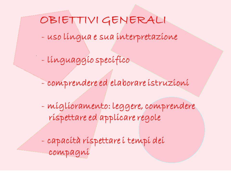 OBIETTIVI GENERALI uso lingua e sua interpretazione