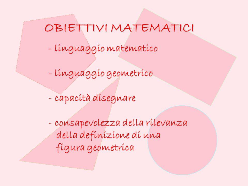 OBIETTIVI MATEMATICI linguaggio matematico linguaggio geometrico