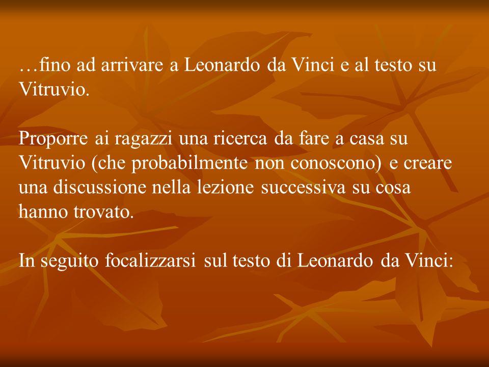 …fino ad arrivare a Leonardo da Vinci e al testo su Vitruvio.