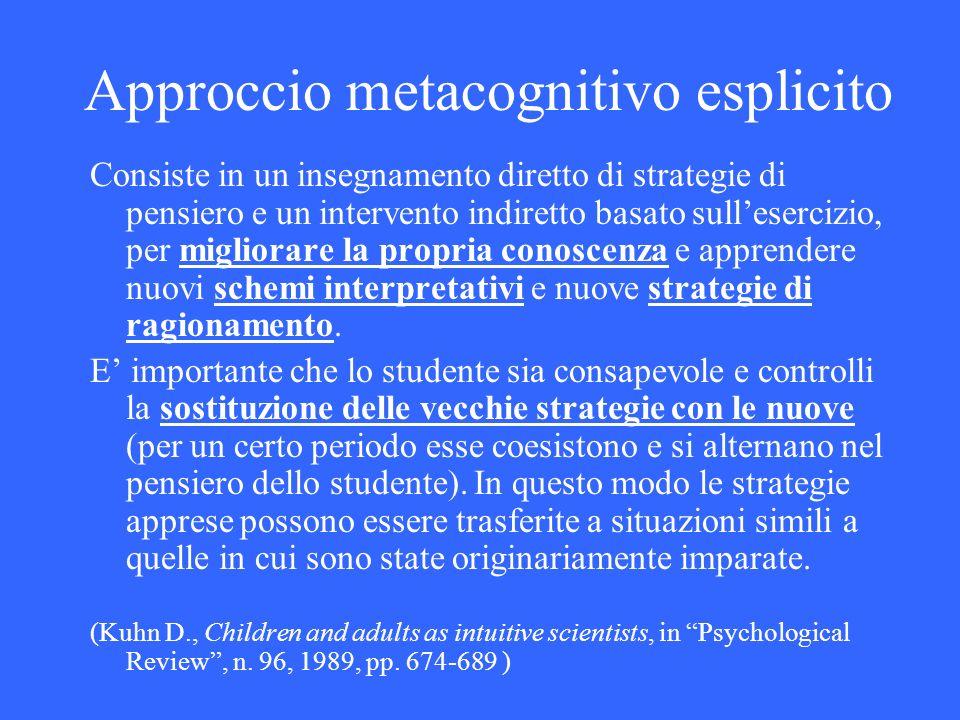 Approccio metacognitivo esplicito