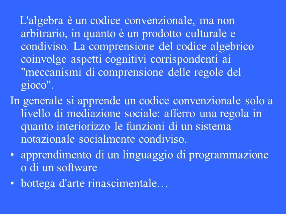 L algebra è un codice convenzionale, ma non arbitrario, in quanto è un prodotto culturale e condiviso. La comprensione del codice algebrico coinvolge aspetti cognitivi corrispondenti ai meccanismi di comprensione delle regole del gioco .