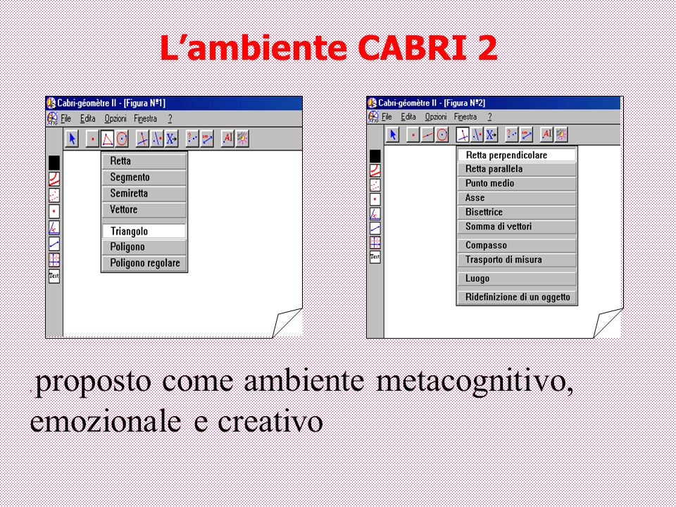 L'ambiente CABRI 2 , proposto come ambiente metacognitivo, emozionale e creativo