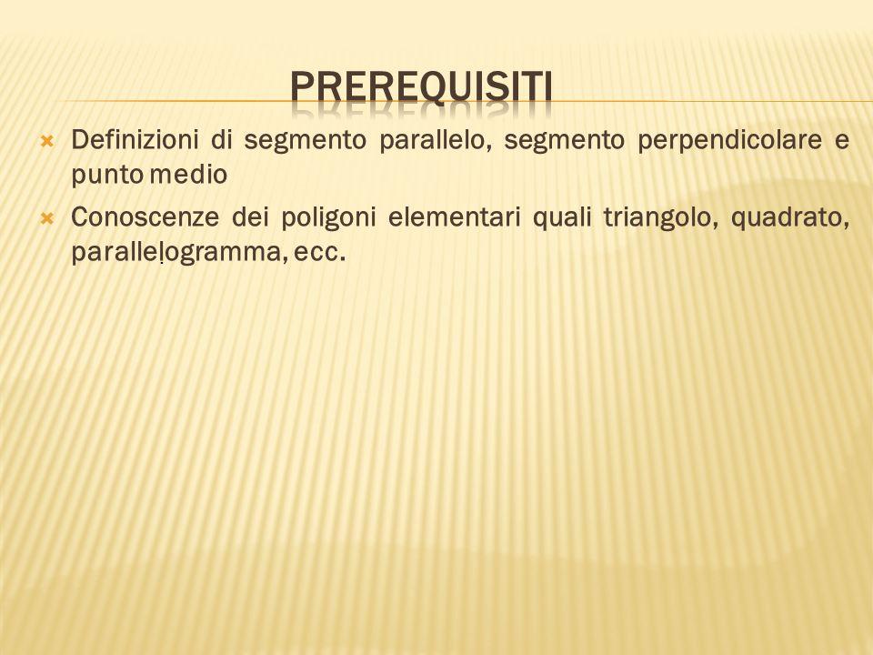 prerequisiti Definizioni di segmento parallelo, segmento perpendicolare e punto medio.