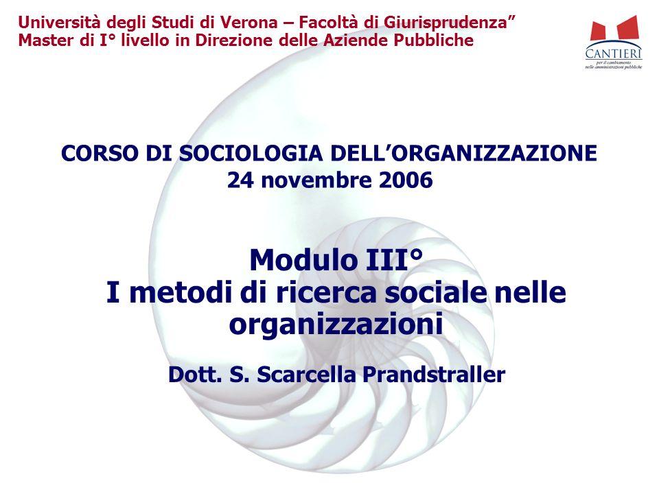 Modulo III° I metodi di ricerca sociale nelle organizzazioni