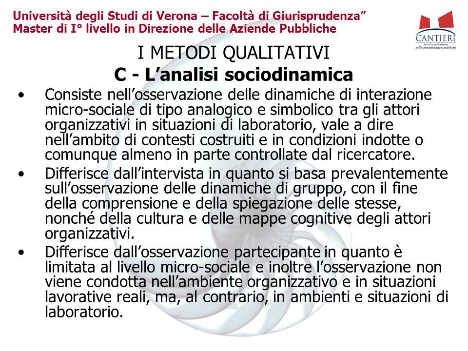 C - L'analisi sociodinamica