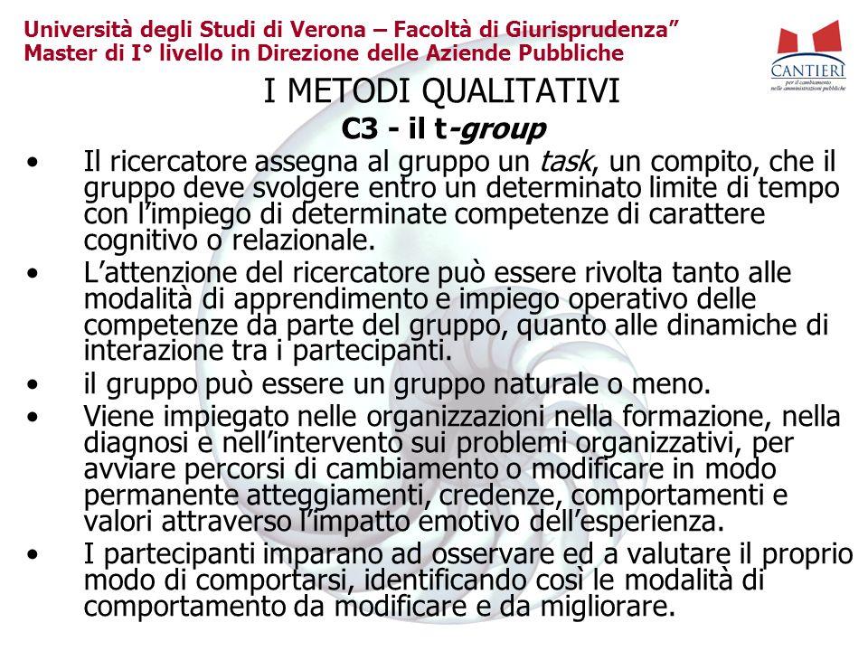 I METODI QUALITATIVI C3 - il t-group