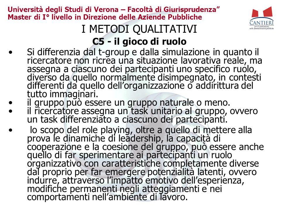 I METODI QUALITATIVI C5 - il gioco di ruolo