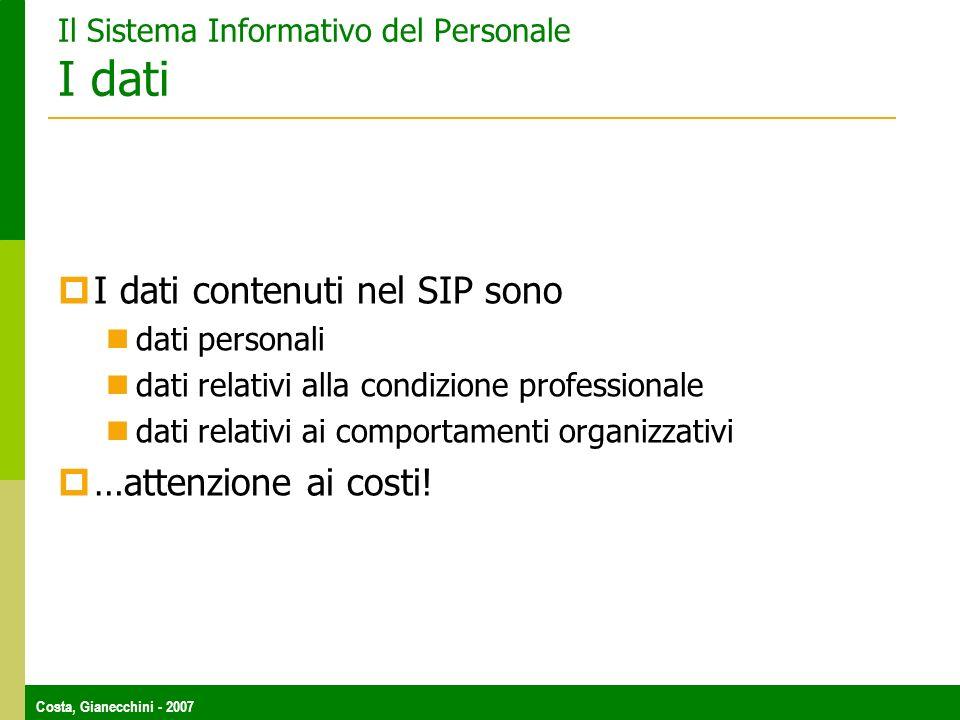 Il Sistema Informativo del Personale I dati