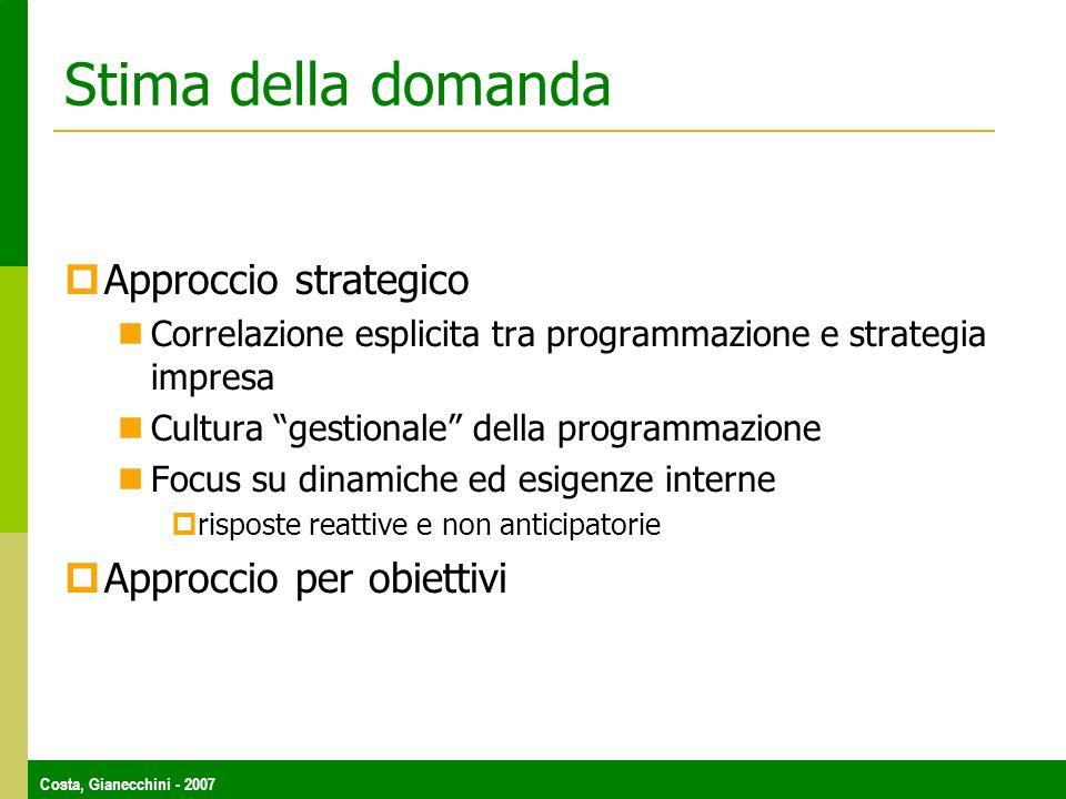 Stima della domanda Approccio strategico Approccio per obiettivi