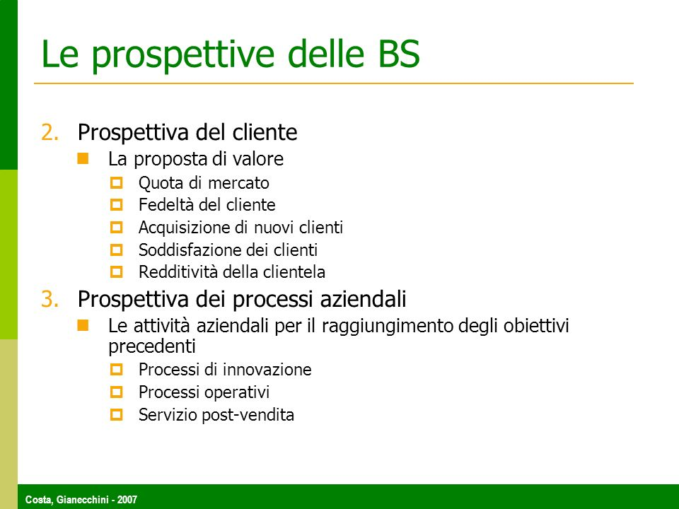 Le prospettive delle BS