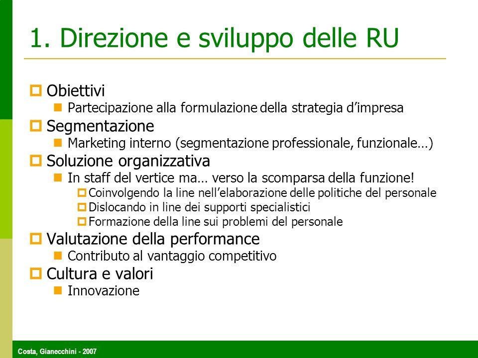 1. Direzione e sviluppo delle RU